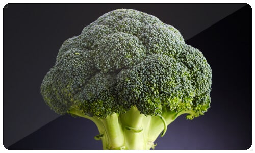 Broccoli is high in vitamin C and dietary fiber. It also has several nutrients with anti-carginogenic properties.