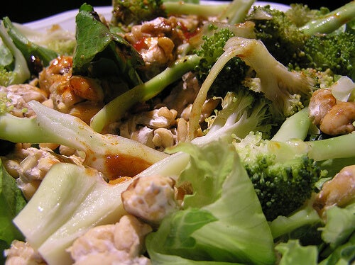 A broccoli stir fry with cauliflower.