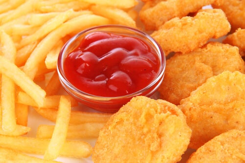 French fries, chicken nuggets, and ketchup.