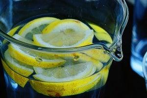Jug of water with lemon