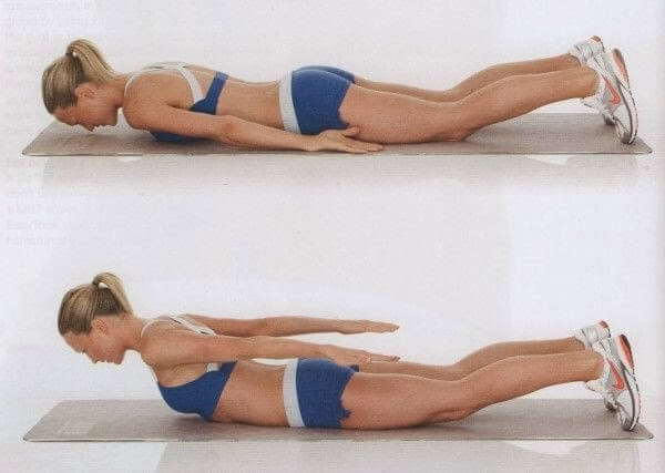 Woman doing exercises to lose back fat