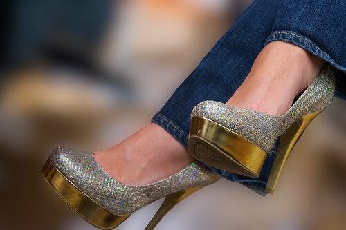 Sparkly high heels.