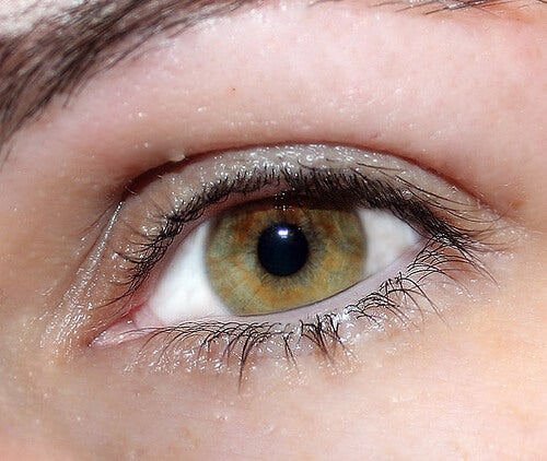 A lady with olive-colored eyes.