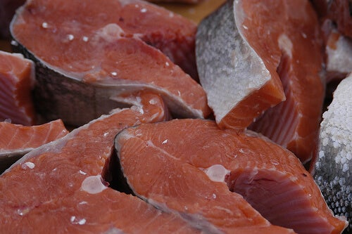 A bunch of cuts of salmon.