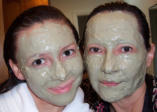 Two friends with skin masks on.