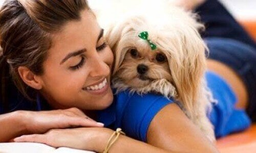 Woman with sweet pet