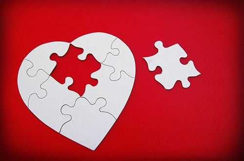 A jigsaw of a broken heart.