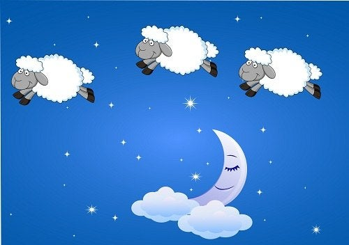 3 sheep jumping over the moon