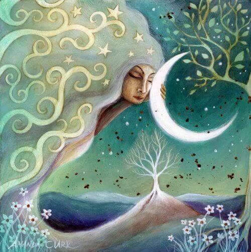 Illustration moon goddess increasing your self-esteem