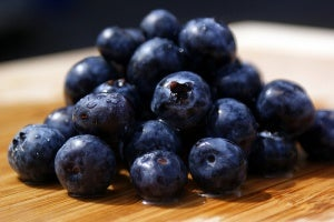 Pile of blueberries on a table