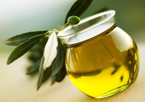 A glass of olive oil