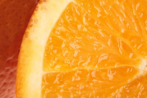 A close up of slice of orange.