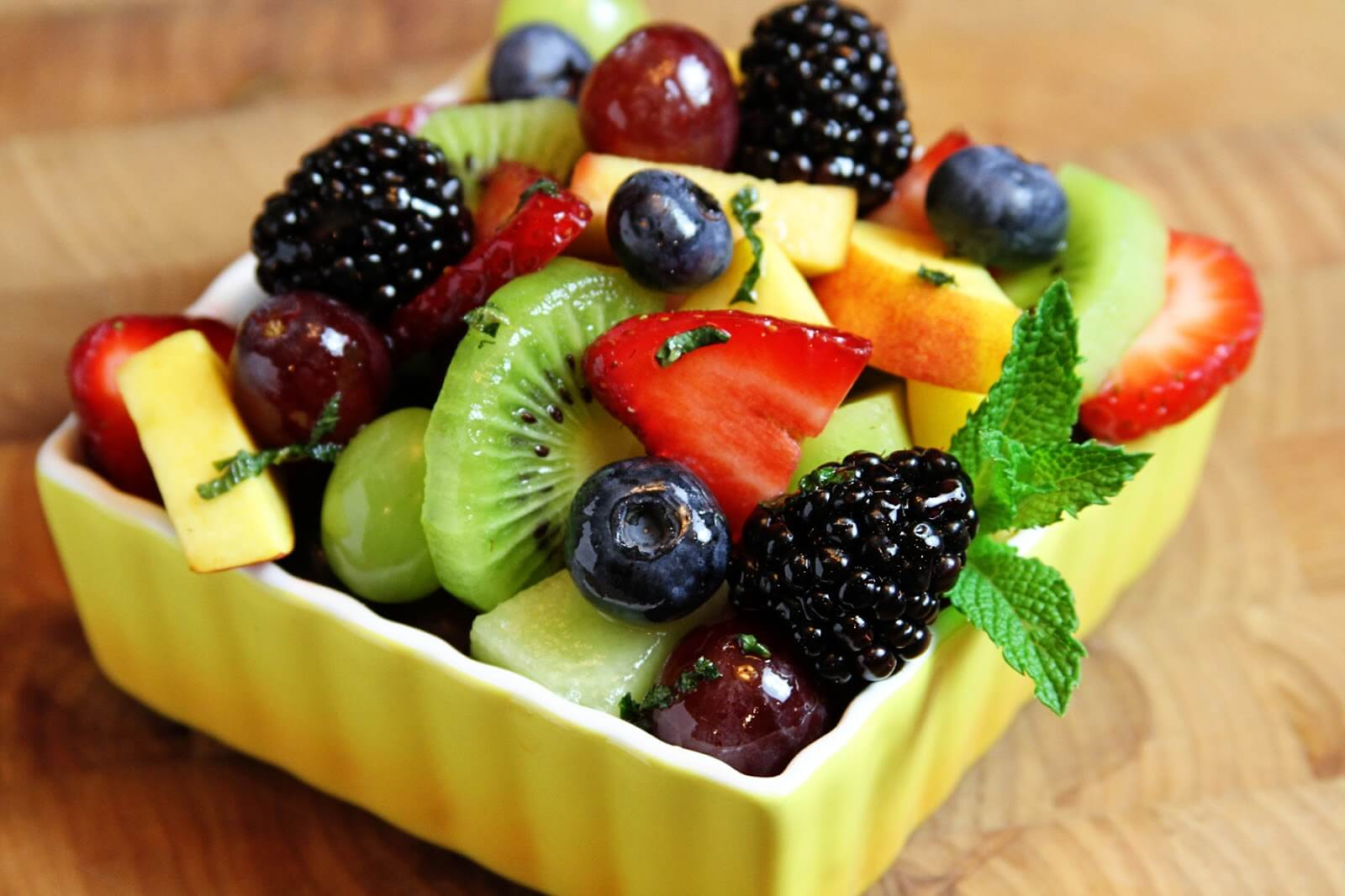 Delicious healthy breakfasts with fruit salad.