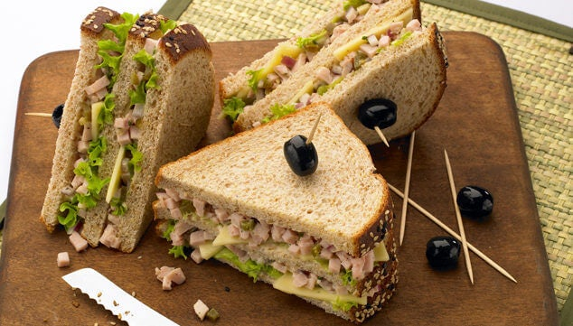 A turkey and avocado sandwich.