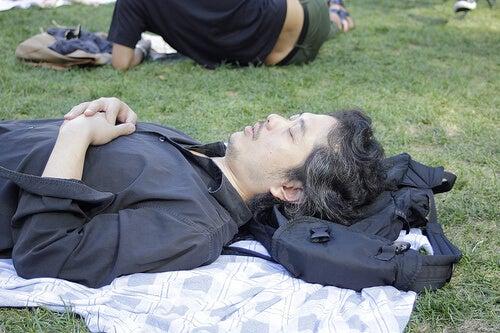 A man asleep in a park.