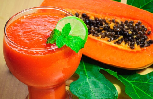 Papaya juice and slide
