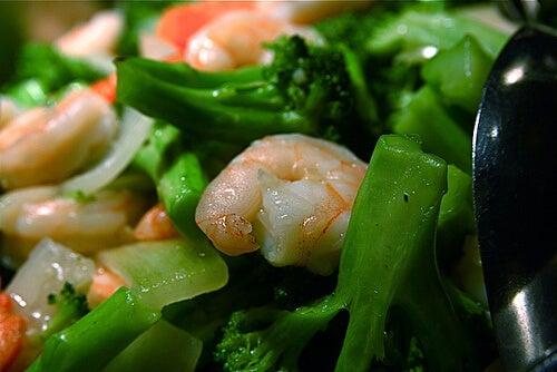 A bowl of prawn salad.