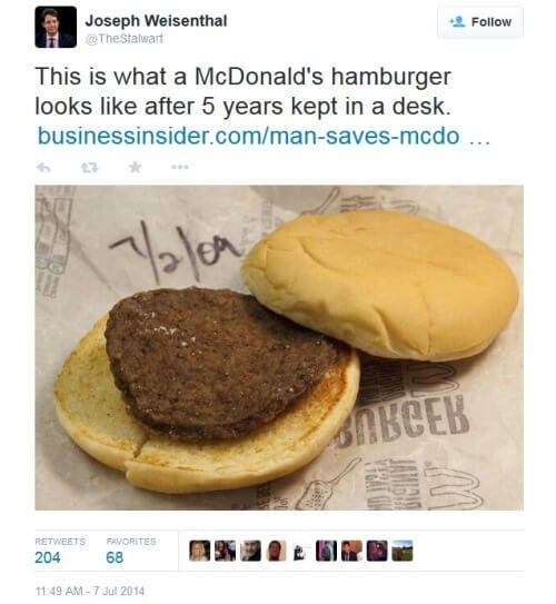 McDonald's hamburger kept in desk for 5 years