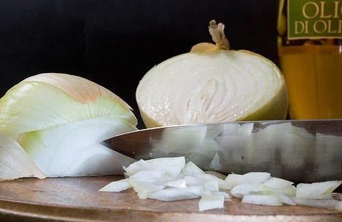 Halved and sliced onions
