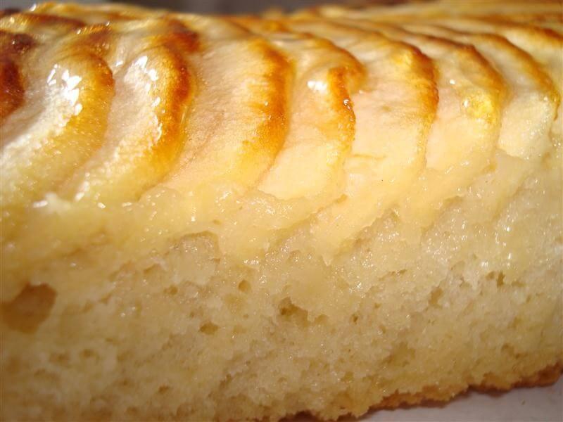 Slice of apple sponge cake