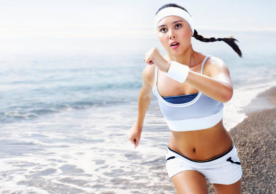 A woman exercising.