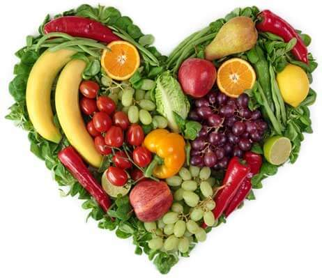 Fruits and vegetables in a heart.