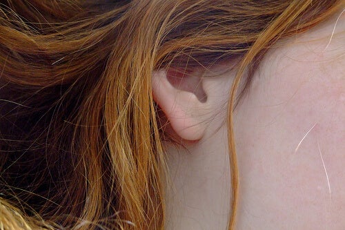 The ear of a redhead