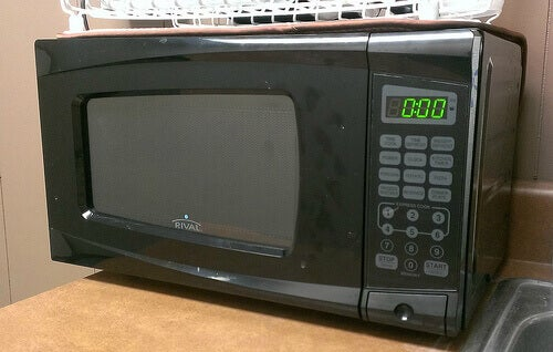 Black microwave on counter