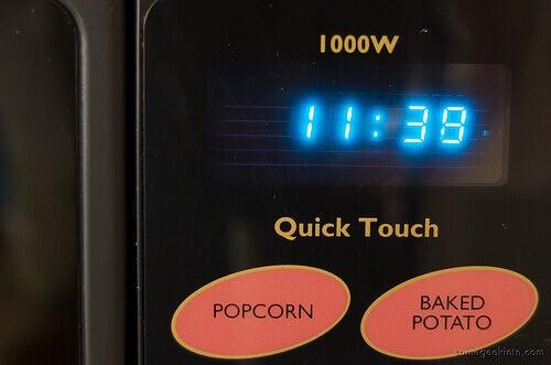 Black microwave clock