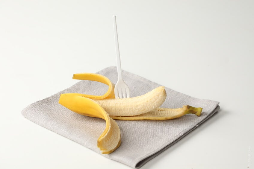 banana with fork in it