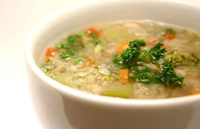Bowl of quinoa vegetable soup