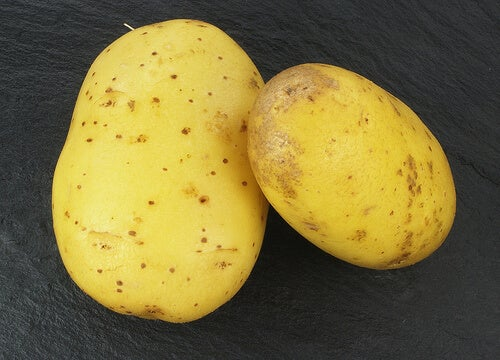 Two raw potatoes.