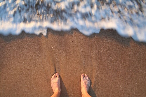 Get beautiful legs by walking on the beach.
