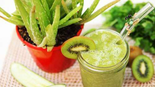 Aloe vera and chlorophyll juice