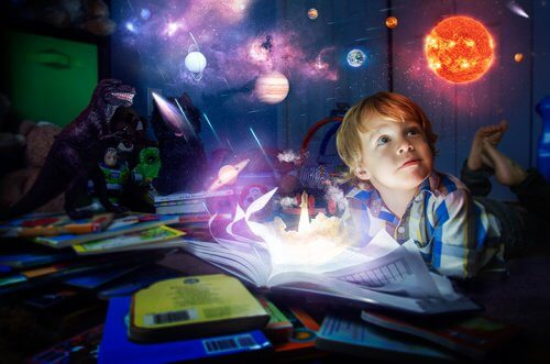 boy reading at night