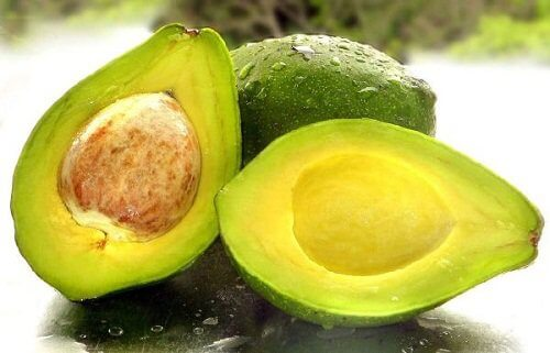 Avocado pair cut in two