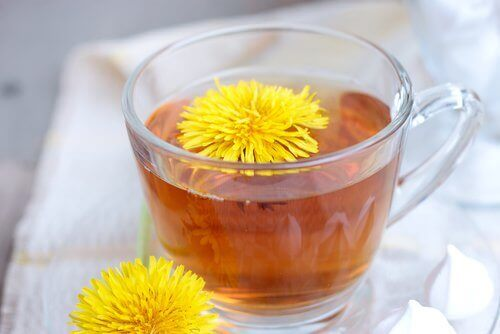 Dandelion tea infusion to fight dandruff and seborrhea