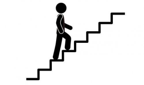 Person walking up stairs get rid of belly fat
