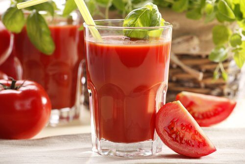 A glass of tomato juice.
