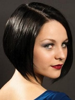 A woman with a bob cut.