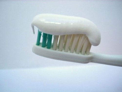 Toothpaste on a toothbrush