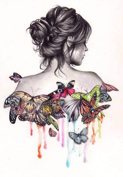 Black and white sketch of woman's cameo with colorful butterflies as her top personality types in love