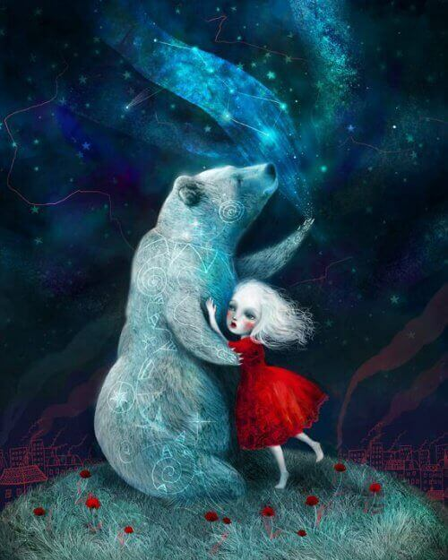 Young girl in red dress hugging polar bear in the glowing darkness personality types in love