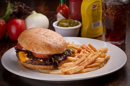 2 burger and fries