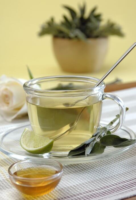 Drink sage tea to help remove fat in the abdominal area.