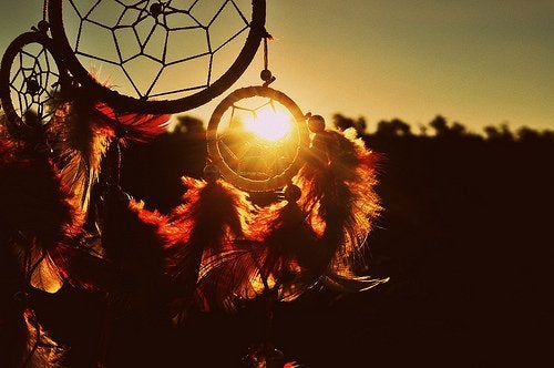 A dreamcatcher at sunset.