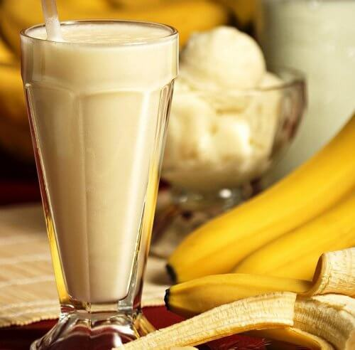 A glass of banana smoothie.