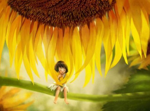 Drawing of a child sitting on a sunflower branch