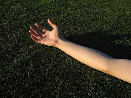 An outstretched arm.