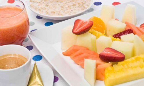 breakfast with oatmeal and fruit
